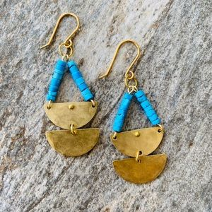 Turquoise and Brass Half Moon Earrings
